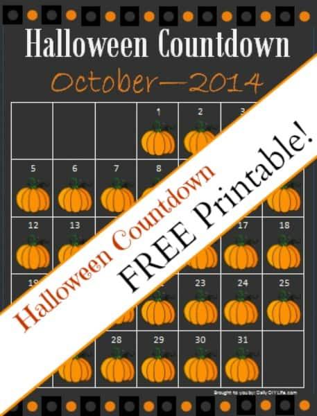 FREE Printable - Countdown to Halloween