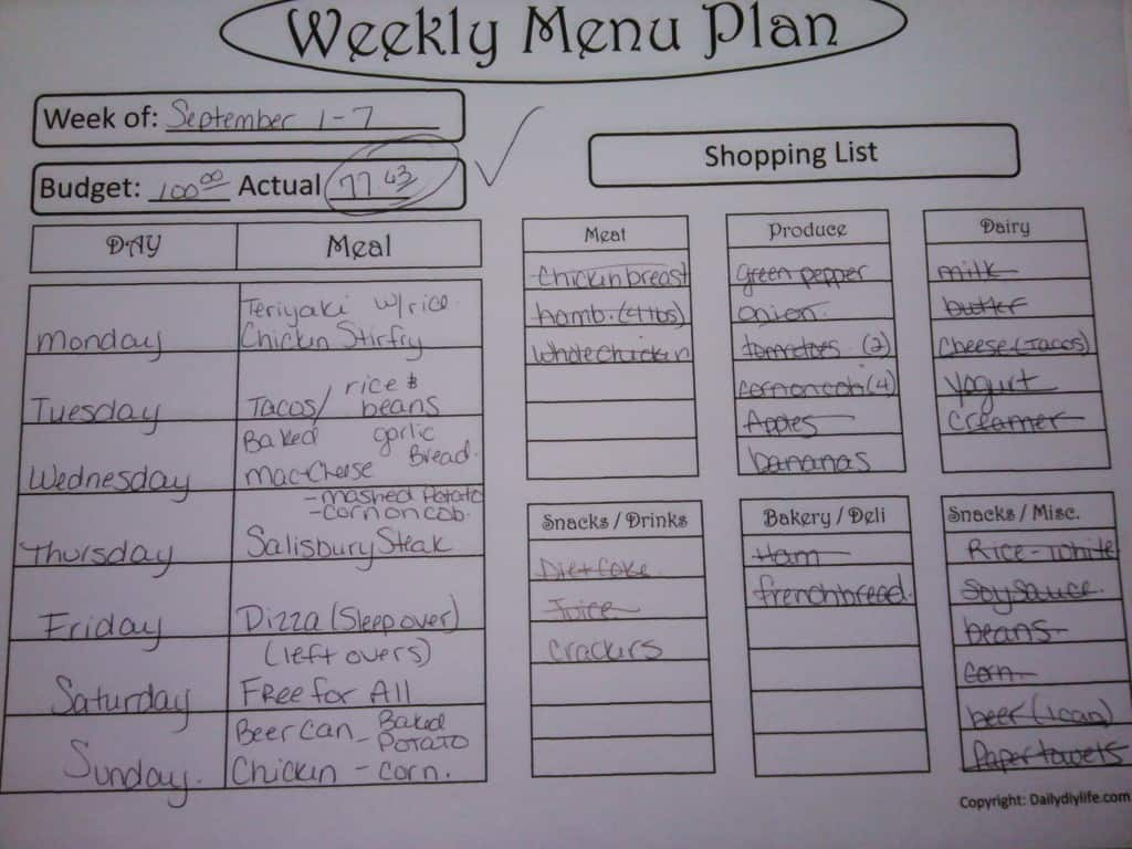 Sample Menu Plan - Daily DIY Life.com