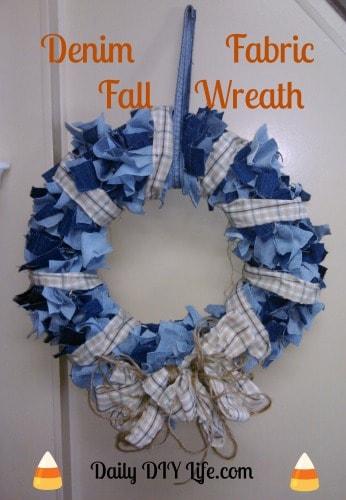 Denim Fabric Fall Wreath - Daily DIY Life.com