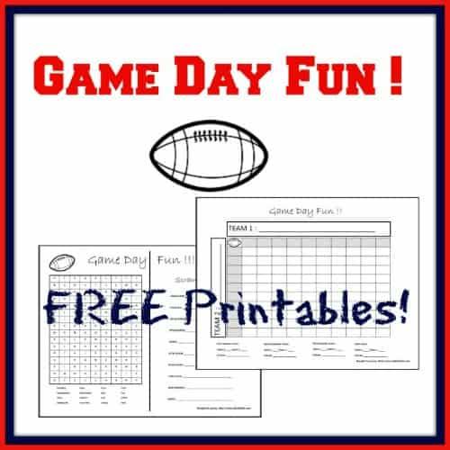 Game Day Fun! FREE Printables! dailydiylife.com