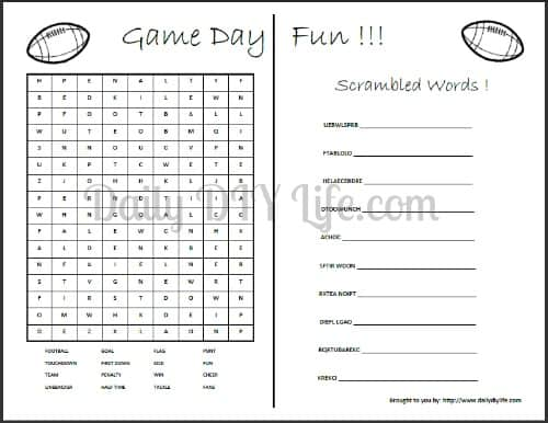Game Day Fun! Word Search and Scramble words FREE Printables! dailydiylife.com