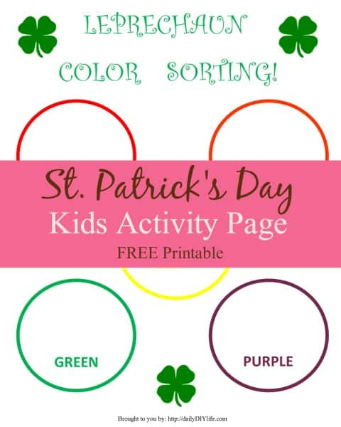 St Patrick\'s Day Kids Activity page - Leprechaun Color Sorting