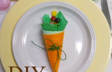 DIT Paper Carrots a perfect addition to any Spring Craft or Easter Table setting!