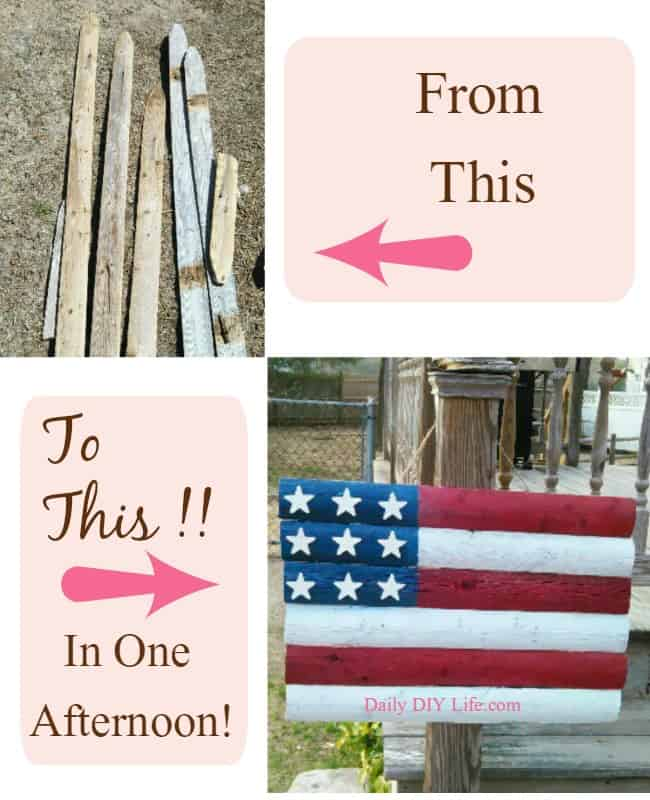 Stars & Stripes Forever! Wooden American Flag Craft- Summer Decor! DailyDIYLife.com