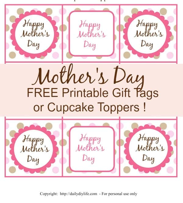 image regarding Free Printable Mothers Day Tags identified as Moms Working day Free of charge Printable Present Tags or Cupcake Toppers