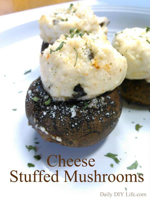 Cheese stuffed mushrooms - Easy Appetizer | DailyDIYLife.com