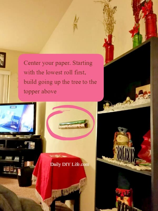 Gift Wrap DIY Christmas Tree Wall Canvas