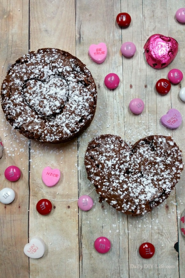 Decadent Triple Chocolate Valentine Brownies. These Semi-Homemade Brownies are super easy to whip up when you need a sweet treat for that special occasion! | DailyDIYLife.com