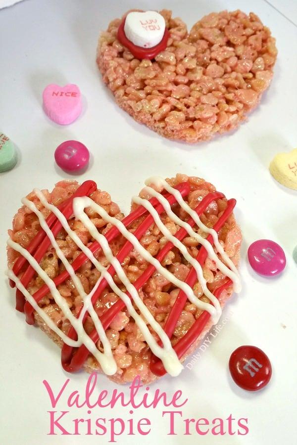 Last Minute Valentine Treat idea. Turn regular rice krispie treats into the perfect Valentine's Day treat in no time.   DailyDIYLife.com