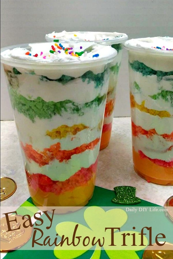 Easy Rainbow Trifle! A simple and delicious St. Patrick's day dessert. DailyDIYLife.com