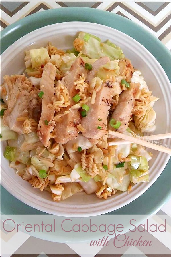 My favorite Summer Salad! This Mouth-Watering Oriental Cabbage Salad with Chicken is perfect for those hot summer nights! Fresh Nappa Cabbage, crunch almonds and ramen noodles, all tossed in a sweet and tangy oriental dressing. This one is a crowd pleaser!