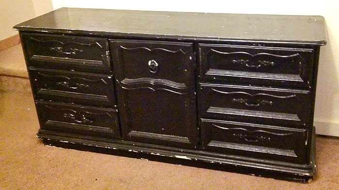 Wait til' you see how this boring, beaten and abused old dresser becomes a Beautiful Dining Room Buffet. It is amazing what a little paint can do.