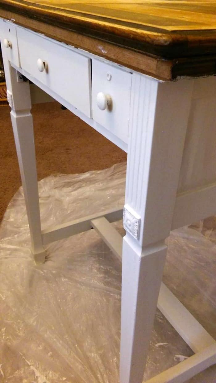 How to bring an old boring piece back to life with paint! This is the before of this sweet sewing table. Sure it has a few flaws, but we can fix that!
