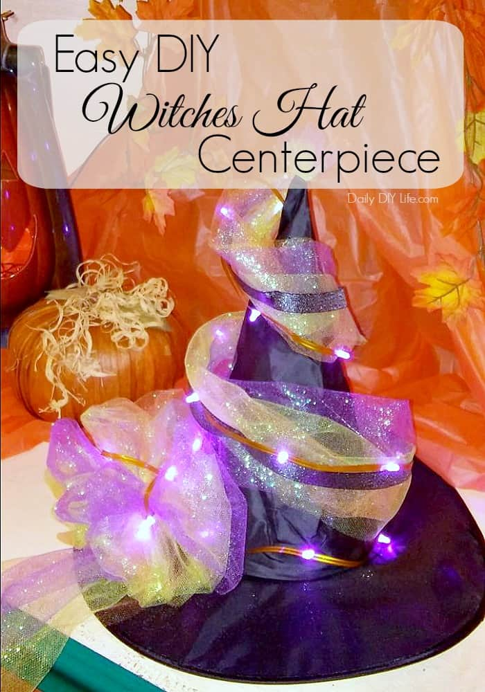 Add a little fun to your Halloween Decor! This Quick and Easy Witched Hat Halloween Centerpiece can be made in just 15 minutes! #Halloween #DIYHalloween #DIYHoliday