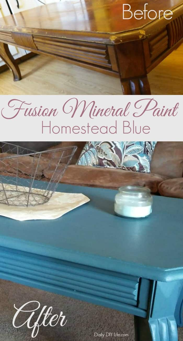 Our coffee table needed a major makeover! Fusion Mineral Paint Homestead Blue did it beautifully. Come see how. #FusionMineralPaint #InspiredHomeBloggers