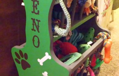 Ordinary Magazine Rack Turned Colorful Dog Toy Storage with Velvet Finishes Paint! #Sponsored #FFFC @VelvetFinishes