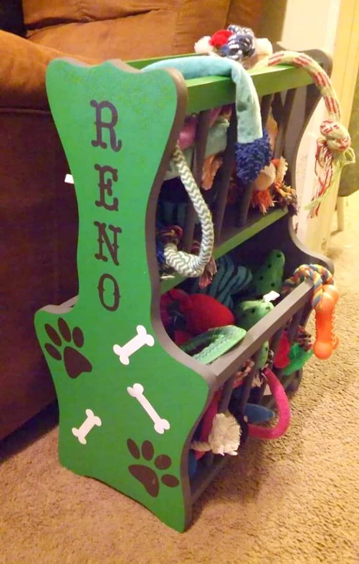 Ordinary Magazine Rack Turned Colorful Dog Toy Storage with Velvet Finishes Paint! #Sponsored #FFFC @VelvetFinishes