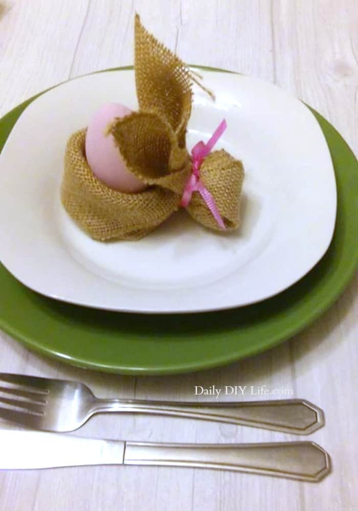 Are you looking for a fun, easy project for Easter? This Burlap Bunny Easter Egg Holder is Quick and Easy, and is perfect for your Easter Decor!