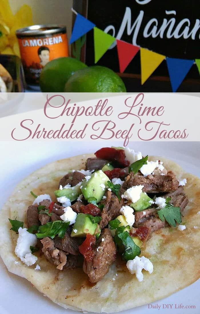 Take your taco obsession to the next level with Chipotle in Adobo! Chipotle Lime Shredded Beef Tacos will make your Taco Tuesday extra spicy! #sponsored