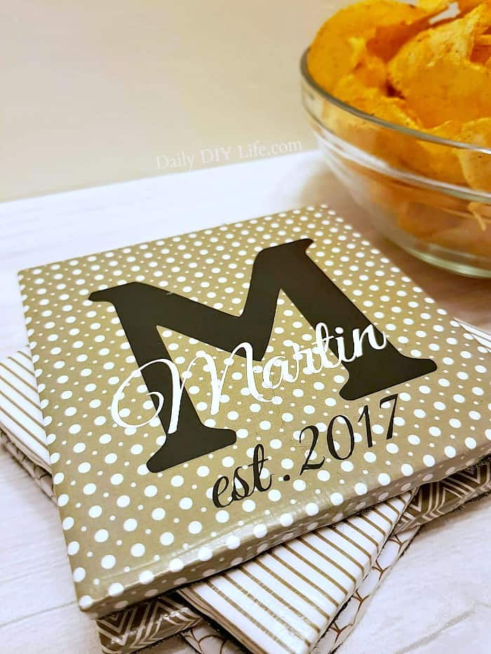 Looking for a personalized gift for that special occasion? These DIY Personalized Coasters are perfect. You will also love just how easy they are to make!