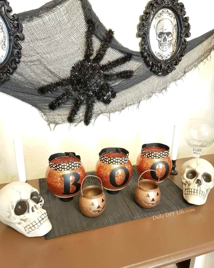 If you are looking for an Easy Halloween DIY, these fun Glitter BOO lights will do the trick. Add a little sparkle to your Halloween decor with this project