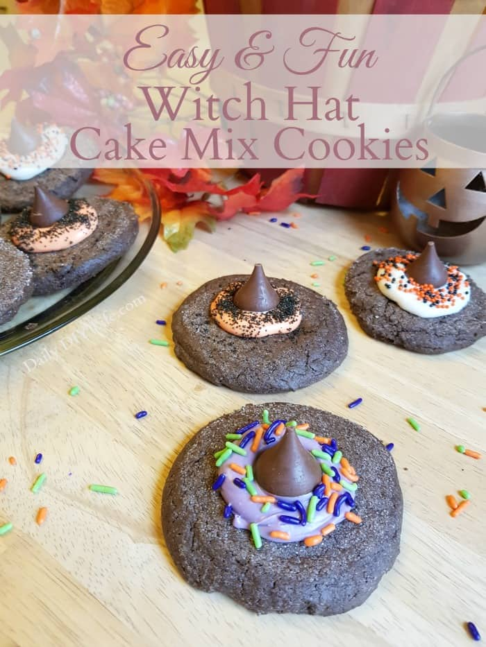 Cake Mix Cookies are a huge hit around our house! These charming Witches Hat Cake Mix Cookies are perfect for your next Halloween Party.