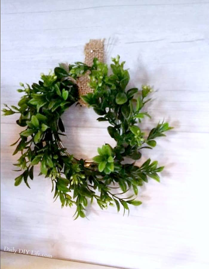 If you are a fan of Easy DIY Decor, these Faux Boxwood Wreaths are the perfect project for you. Add a little Farmhouse Style that you can enjoy all year. #Farmhouse #DIYDecor #DIY #Boxwood #FarmhouseStyle #DailyDIYLife