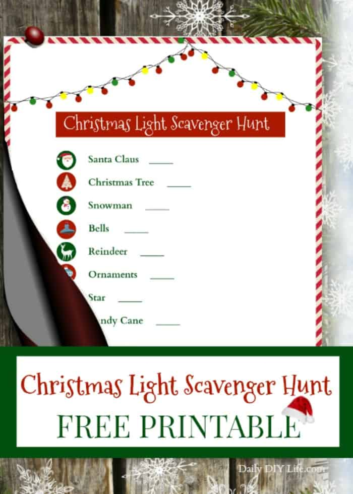 A Christmas Light Scavenger Hunt is a fun activity for the whole family. Check off each festive holiday item until the list is complete. Who doesn't love looking at beautiful Christmas lights? Pack a thermos filled with hot cocoa and head out for a night of fun findings.