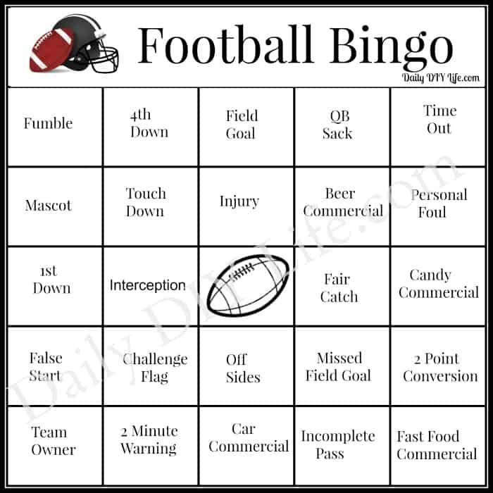 It is a graphic of Impeccable Free Printable Football Bingo Cards