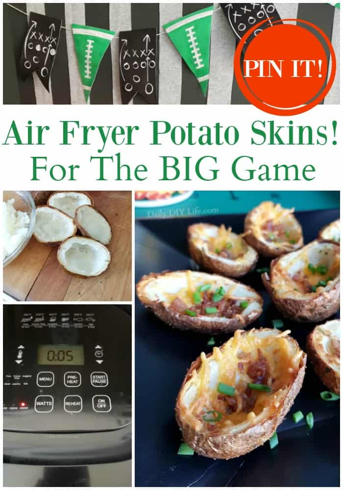 Crispy Air Fryer Potato Skins Just In Time For The Big Game! If you love crispy potato skins loaded with all the good stuff, you have come to the right place. Cooking them in the air fryer cuts your time in half. All the delicious toppings make them a hit with the whole family! #Ad #DeansDreamBig