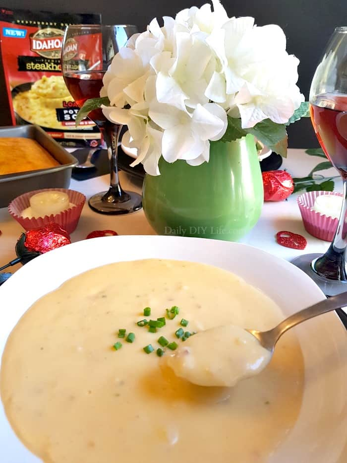 The winter months can make it tough to get out for a romantic date night. That is why we like to have our date night right at home. With a little help from Idahoan Steakhouse Soups, a Romantic Date Night In doesn't have to be complicated. #Ad #IdahoanSoups